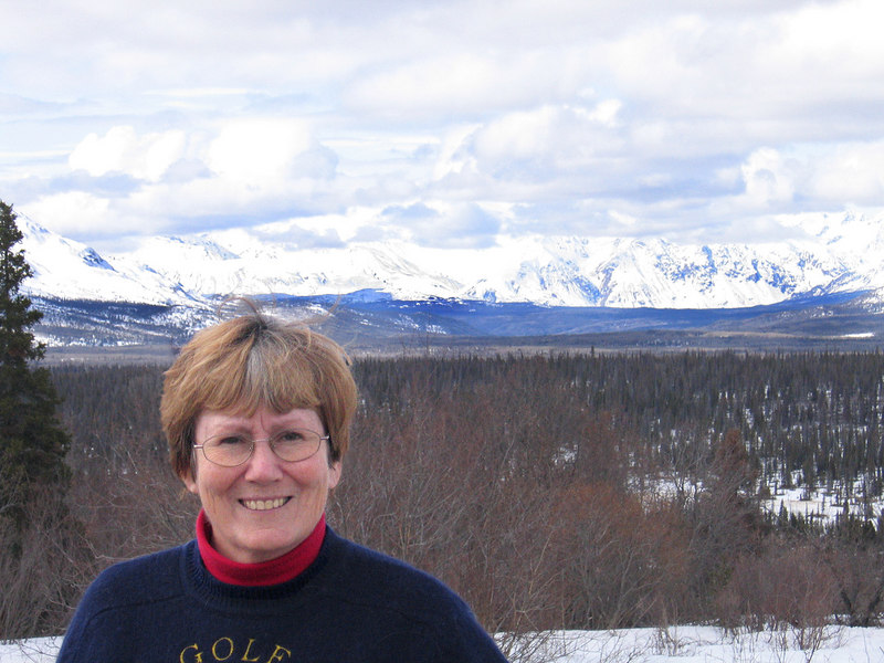 Susan with Kluane Range in background about 50 miles west of Haines Junction