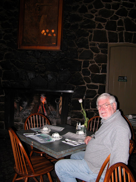Mike in the dining room of the lodge