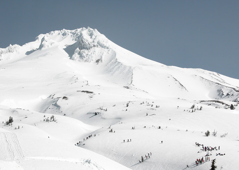 """Mt. Hood - look closely at all those """"little ants"""".   That is a ski class going on."""