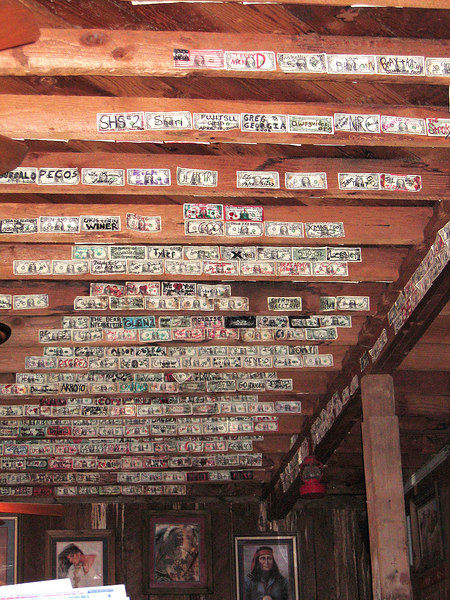 Dollar bills tacked to the ceiling in Calamity Jane's in Sandy, OR