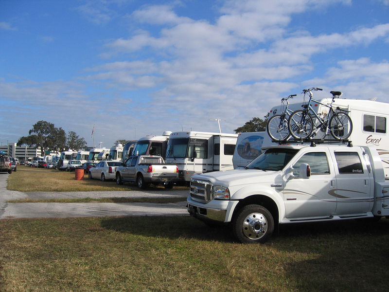 Tampa, Florida RV Show - There's us, with the bikes, in amongst hundreds of RVs at the fairgrounds.