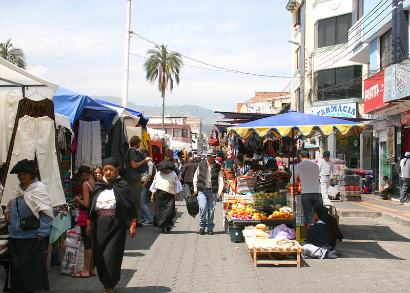 This is the Saturday Market in the Plaza de los Ponchos.  Such a kaleidoscope of colors.