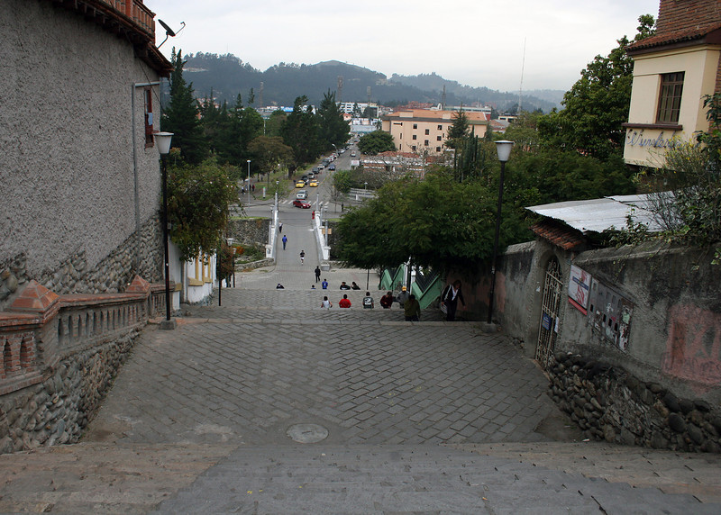 """These are one of the sets of stairs leading from """"Old Town"""" Cuenca down to the Tomebamba River which separates the old and new of Cuenca."""