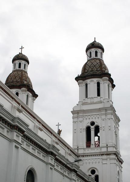Close-up of the bell towers of Iglesia de Santo Domingo