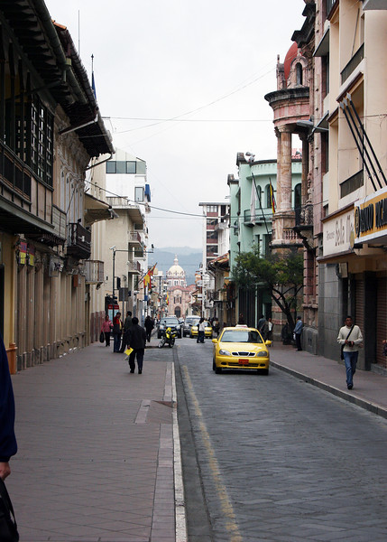 """The streets in """"Old Town"""" Cuenca are narrow and cobblestone."""