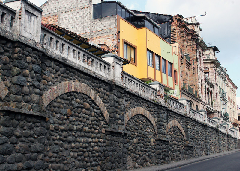 Beautiful stone wall and buildings in Cuenca