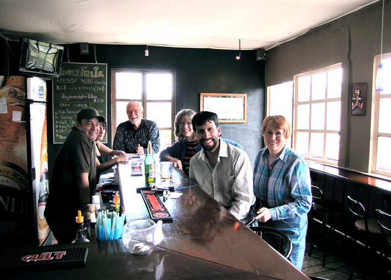 Inca Cafe. Far left is owner.  Mike is at end of bar, then Karen, unknown person and Susan