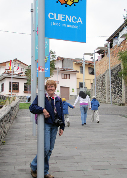 Susan on one of the streets in Cuenca
