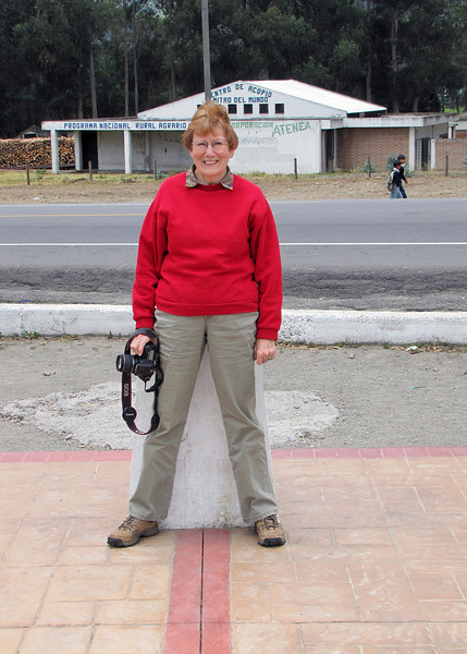 Susan straddling the equator in Cayambe.
