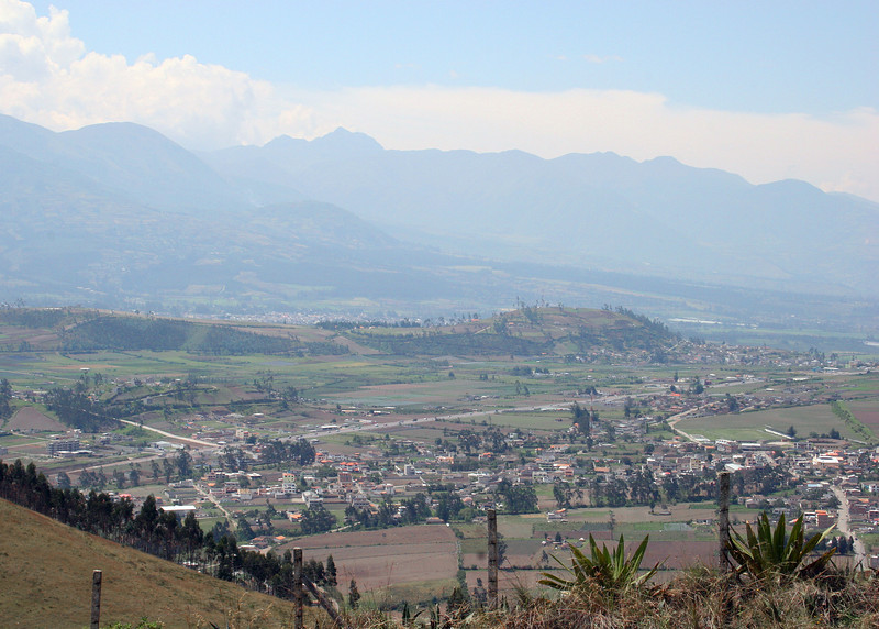 Otavalo with Cotachachi in distance as viewed from the Parque de Condor.