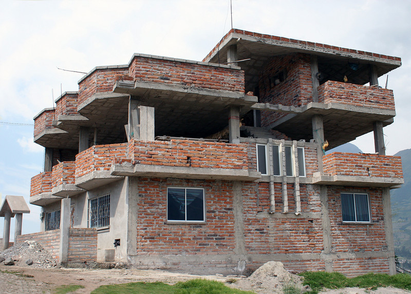 A house being built on the way to Lago San Pablo from the Parque de Condor.
