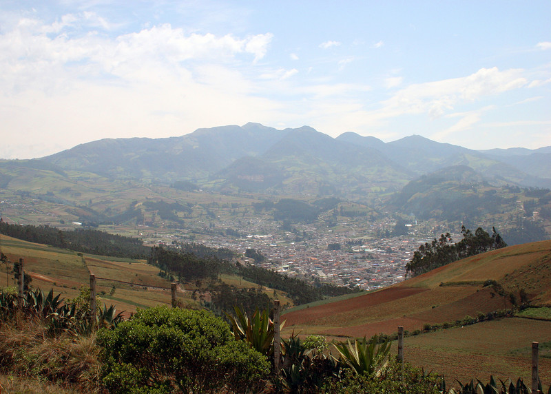 Otavalo in the distance viewed from the Parque de Condor.