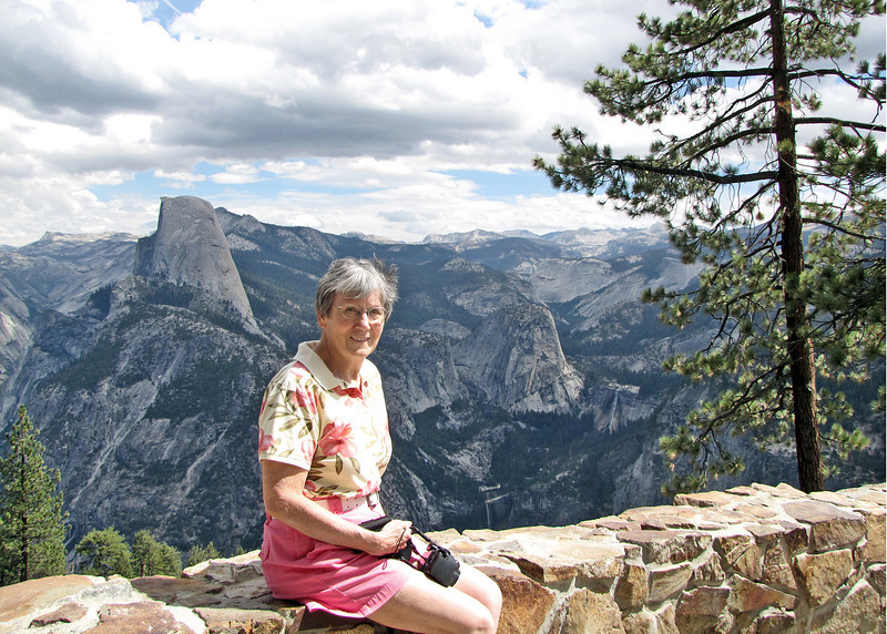 Susan at Glacier Point with Half Dome in background