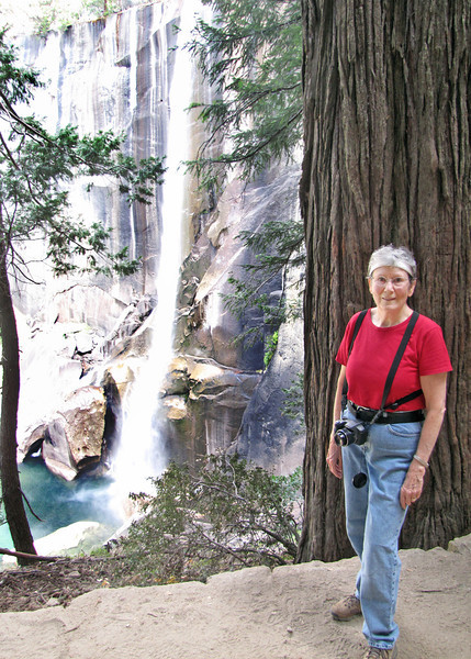 Susan with Vernal Falls along the Vernal Falls hike