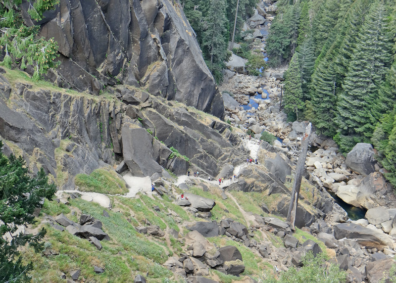 View from the top of Vernal Falls.  You can see the white ribbon of granite stairs going up the mountain.