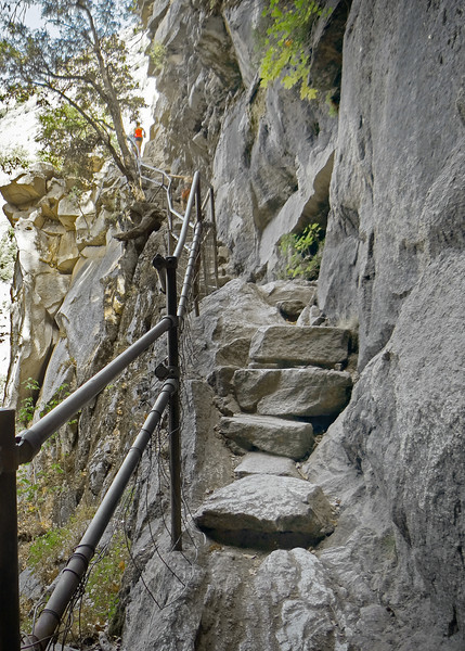 A very narrow path of granite steps along the Vernal Falls hike