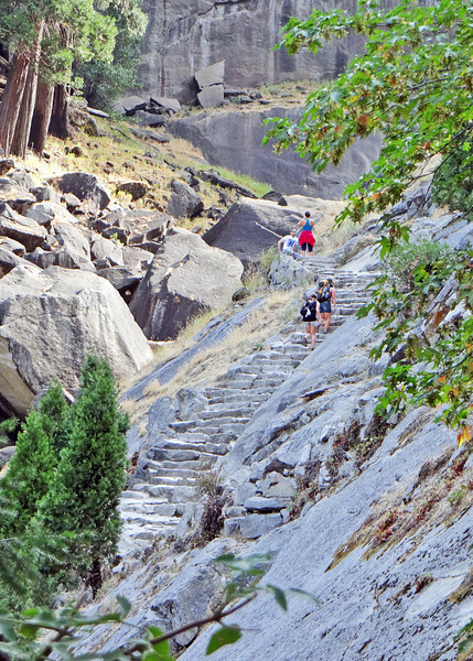 Climbing the granite stairs along the Vernal Falls hike