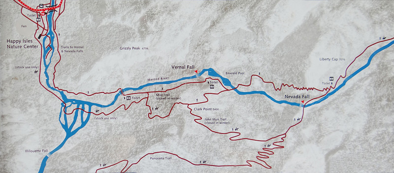 Map of the hike to Vernal Falls