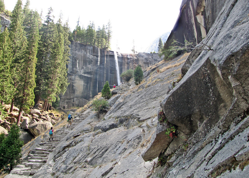 The granite stairs and Vernal Falls in the background along the Vernal Falls hike