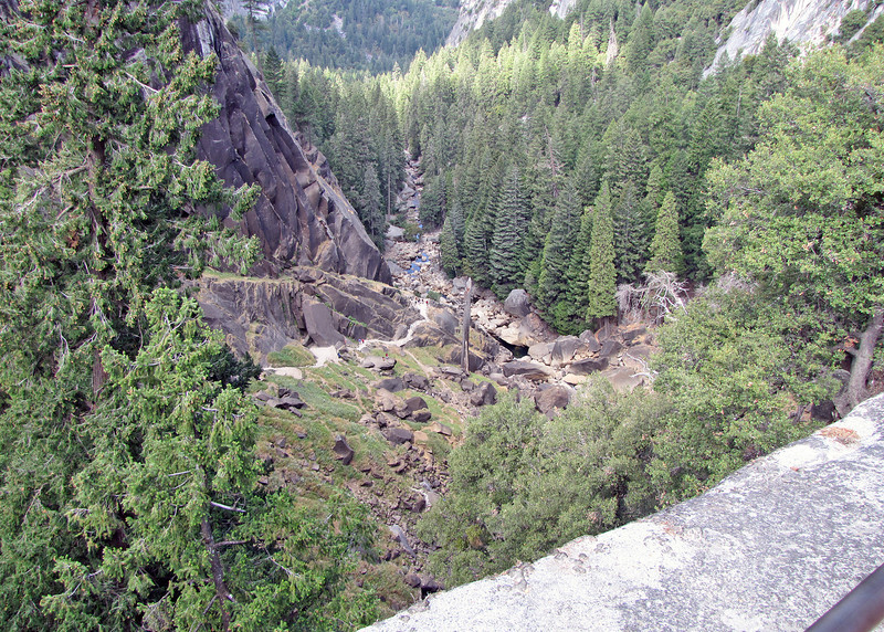 View from the top of Vernal Falls.  Look hard and you can just make out people WAY down there and the white ribbon of granite stair heading up to the top.