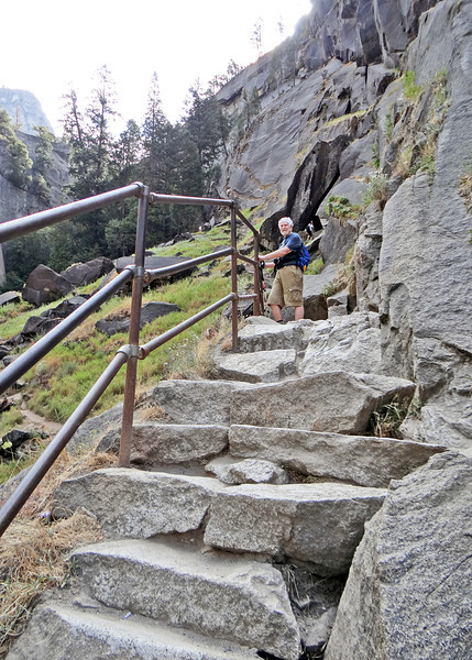 Mike on the granite steps along the Vernal Falls hike