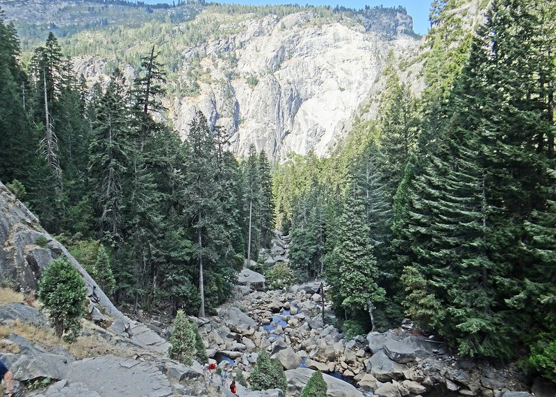 The Merced River and cliffs along the Vernal Falls hike