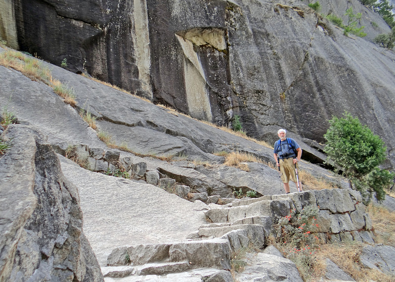 Mike on the granite stairs along the Vernal Falls hike