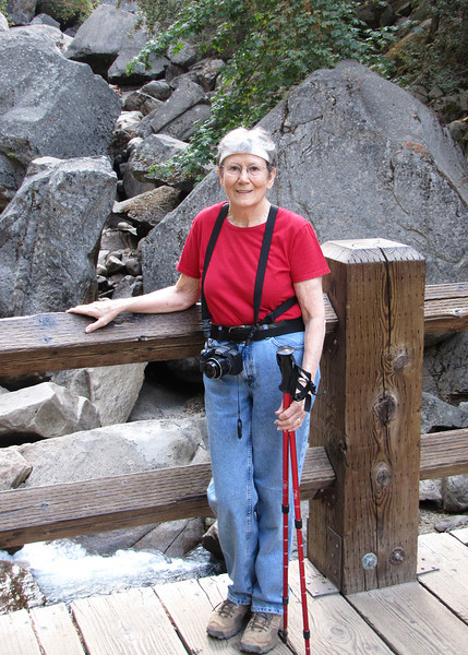 Susan at footbridge along the Vernal Falls hike