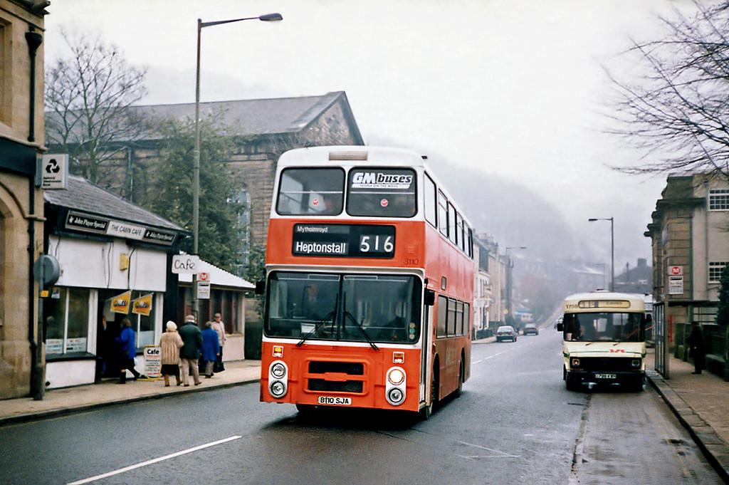 3110 B110SJA, Hebden Bridge 2/2/1991