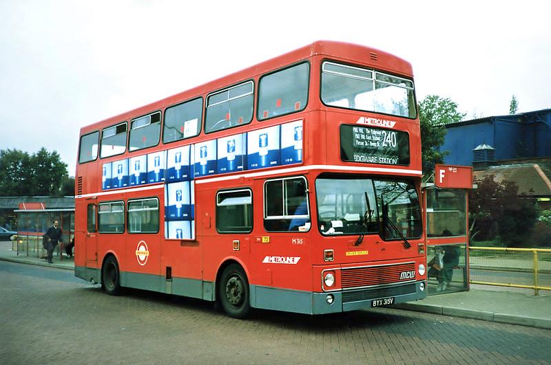 M315 BYX315V, Golders Green 16/5/1991