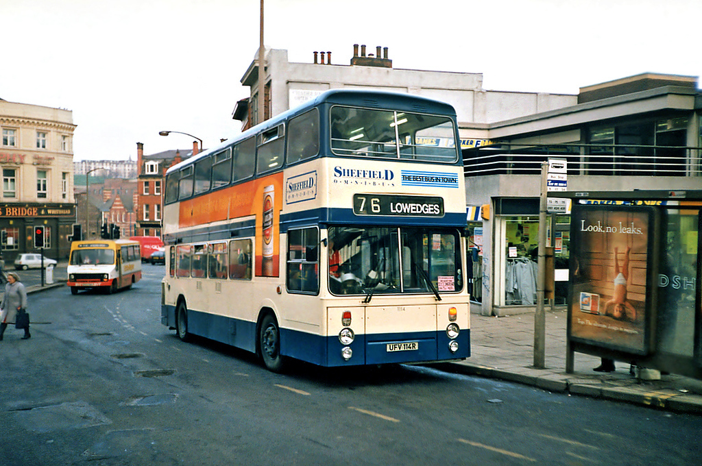 1114 UFV114R, Sheffield 17/2/1991