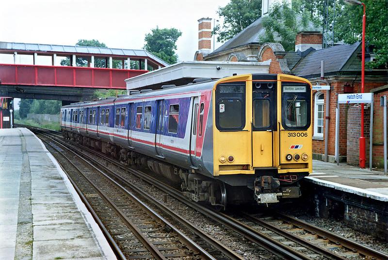 313006 Hatch End 10/6/1992<br /> 1537 London Euston-Watford Junction