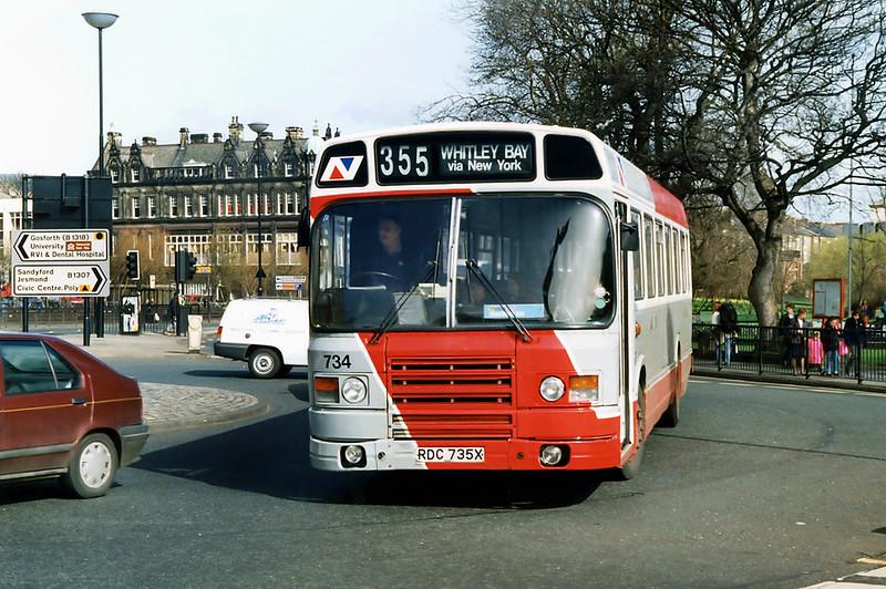 734 RDC735X, Newcastle 21/3/1992