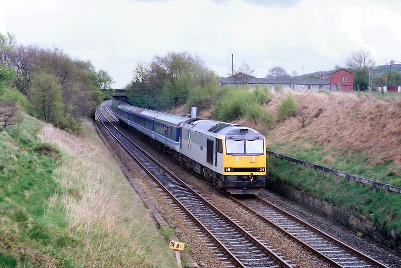 60095 Adlington 25/4/1992<br /> 2C45 1448 Manchester Victoria-Barrow in Furness