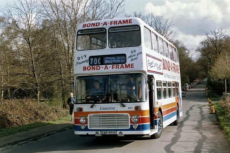 Sussex Coastline Buses 691 EAP991V, Walton-on-Thames 4/4/1993
