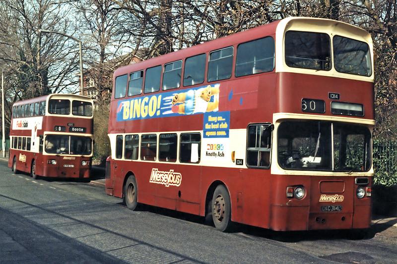 1314 DKC314L and 1015 A335GLV, Aigburth 17/3/1994