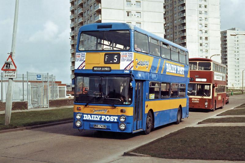 146 BNE742N and Merseybus 1697 JWM697P, Croxteth 17/3/1994