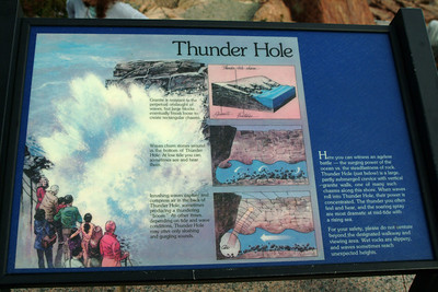 Our next stop was Thunder Hole.  A recess in the rocky shoreline combined with an undercut area in the rocks makes for a narrow channel that waves slam into and compress air in a pocket under the rocks.  As the waves recede, the compressed air explodes out making a thunderous boom.   Or so the sign says.