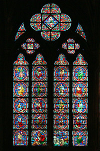 One of many stained glass windows in Notre Dame.