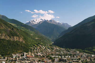 As I recall, this was nearing Brig where we would switch to a narrow gauge train for the trip into Zermatt.