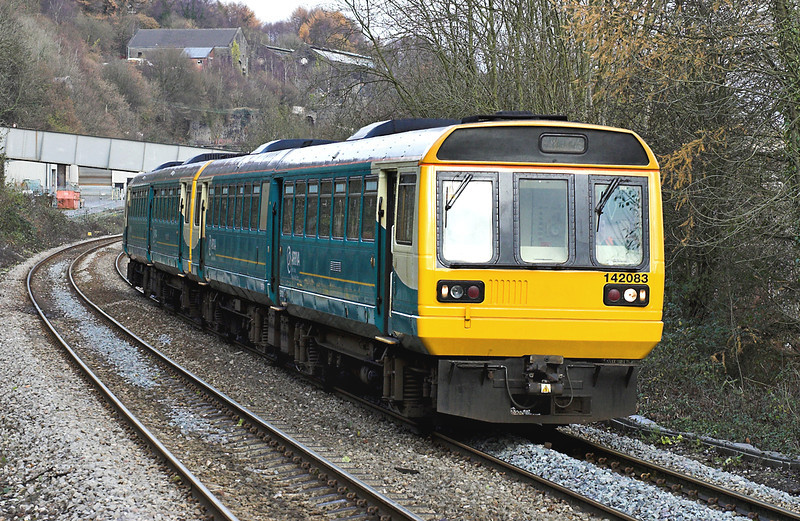 142083 and 142069, Llanbradach 4/12/2005<br /> 2F06 1159 Rhymney-Cardiff Central