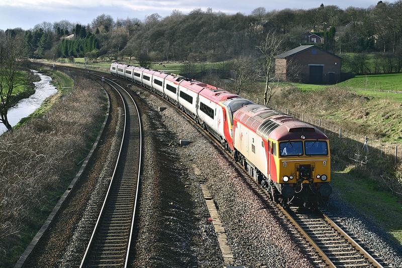 57306 and 390001, Lostock 13/2/2005<br /> 1A54 1410 Preston-London Euston