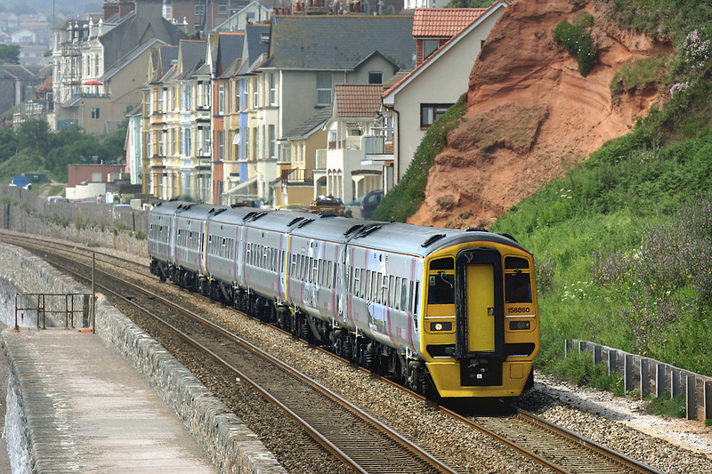 158860, 158782 and 158863, Dawlish 19/6/2005<br /> 2C05 1057 Paignton-Exeter St Davids