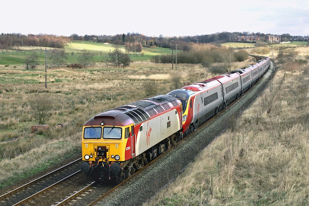 57305 and 390026, Lostock Hall Fold 20/2/2005<br /> 1P85 1048 Northampton-Preston