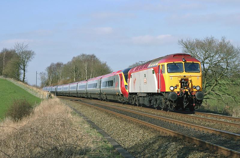 57307 and 390034, Heath Charnock 20/3/2005<br /> 1A54 1410 Preston-London Euston