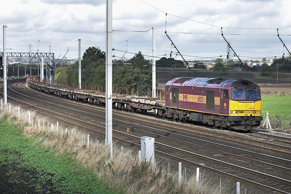 60021 Winwick Junction 20/10/2005<br /> 6L33 1055 Castleton-Warrington Arpley