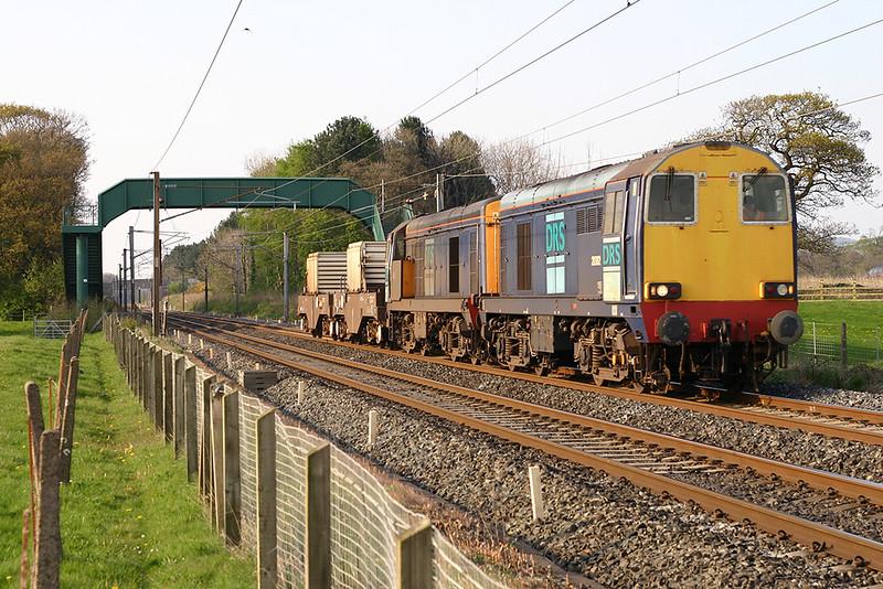 20302 and 20312, Brock 25/4/2005<br /> 6K73 1538 Sellafield-Crewe CLS
