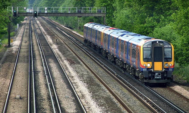 450105 and 450047, Potbridge 26/5/2005<br /> 2L36 1124 Basingstoke-London Waterloo