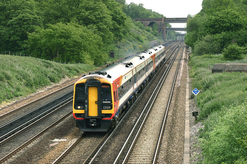 159020 and 159007, Potbridge 26/5/2005<br /> 1L27 1050 London Waterloo-Salisbury