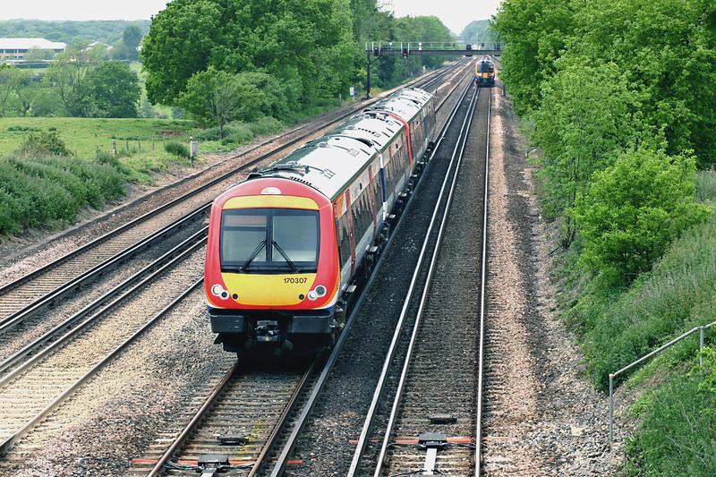 170307 and 170306, Potbridge 26/5/2005<br /> 1L36 1020 Yeovil Junction-London Waterloo